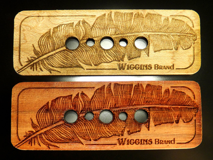 Wiggins Brand Cigar Box Guitar Pickups Fine Detail feather Etched design